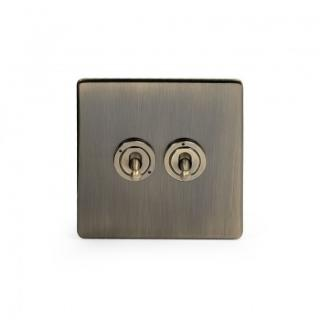 The Charterhouse Collection Aged Brass 2 Gang 2 Way Dolly Switch