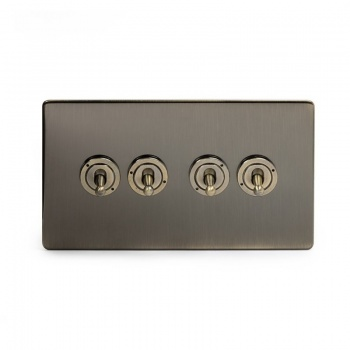 The Charterhouse Collection Aged Brass 4 Gang 2 Way Dolly Switch