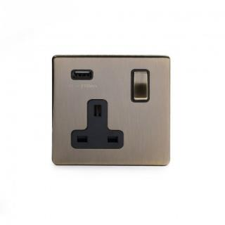 The Charterhouse Collection Aged Brass 1 Gang USB Socket with Black Insert