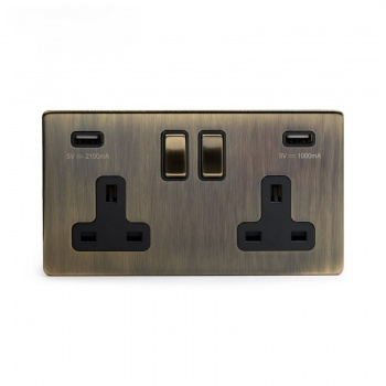 The Charterhouse Collection Aged Brass 2 Gang USB Socket with Black Insert