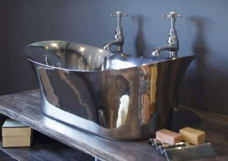 Nickel Freestanding Bateau Basin - Nickel Interior