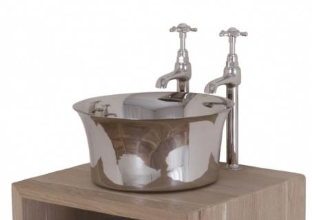 Nickel Freestanding Tub Basin - Nickel Interior