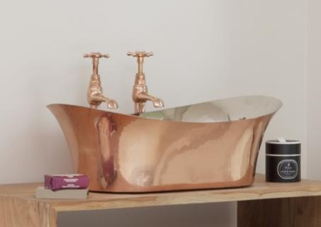 Copper Freestanding Bateau Basin - Nickel Interior
