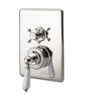 Concealed Dual Control Thermostatic Valve - 2 Outlets - Nickel