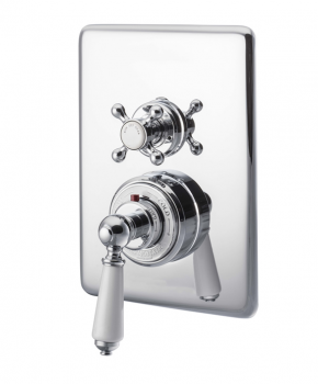 Concealed Dual Control Thermostatic Valve - 2 Outlets, Chrome