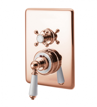 Concealed Dual Control Thermostatic Valve - 2 Outlets - Copper