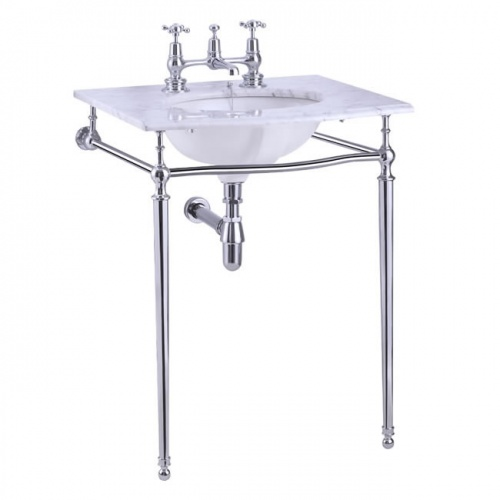 Carrara marble top & basin with basin stand