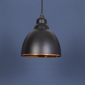 The Brindley Pendant - Hammered Copper and Black Grain Exterior