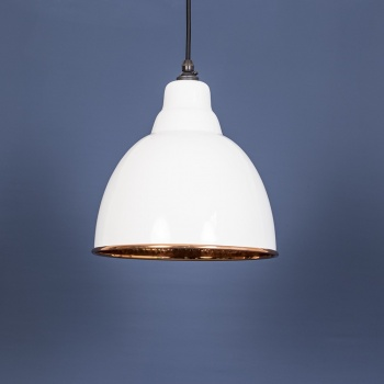 The Brindley Pendant - Hammered Copper and White Gloss Exterior