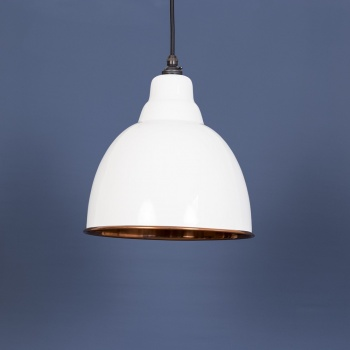 The Brindley Pendant - Smooth Copper and White Gloss Exterior