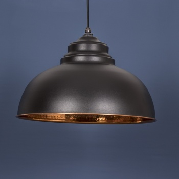 The Harborne Pendant - Hammered Copper and Black Grain Exterior