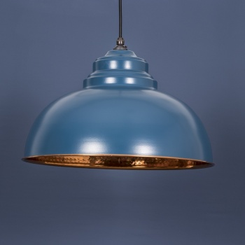 The Harborne Pendant - Hammered Copper and Blue-Grey Exterior