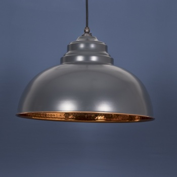 The Harborne Pendant - Hammered Copper and Charcoal Grey Exterior