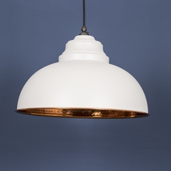 The Harborne Pendant - Hammered Copper and Grey Grain Exterior