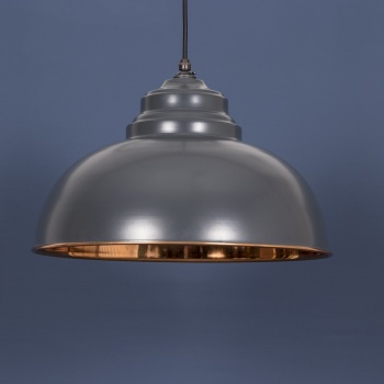 The Harborne Pendant - Smooth Copper and Charcoal Grey Exterior