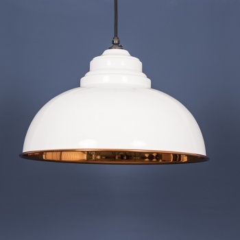 The Harborne Pendant - Smooth Copper and White Gloss Exterior