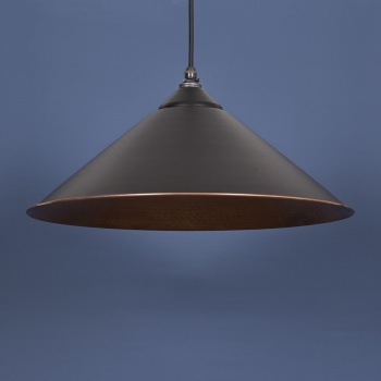 The Yardley Pendant - Hammered Copper and Black Grain Exterior