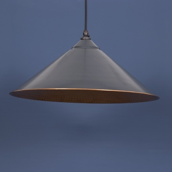 The Yardley Pendant - Hammered Copper and Charcoal Grey Exterior