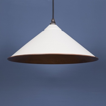 The Yardley Pendant - Hammered Copper and Grey Grain Exterior