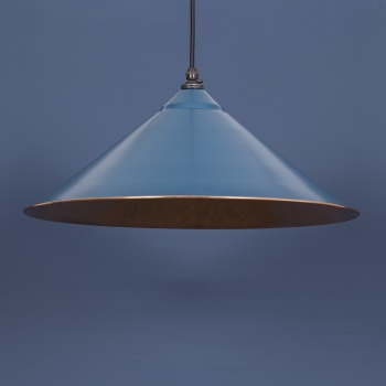 The Yardley Pendant - Smooth Copper and Blue-Grey Exterior