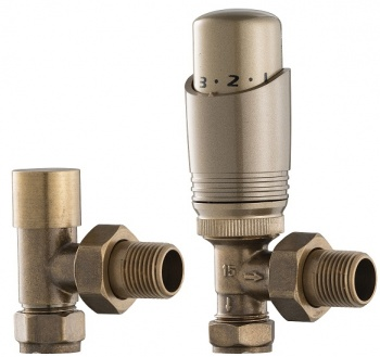 UK-11 Thermostatic Cast Iron Radiator Valves - Antique Copper