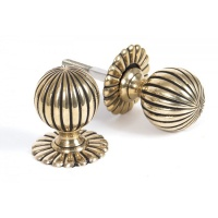 Aged Brass Flower Mortice Knob Set