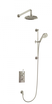 Arcade Thermostatic 2 Outlet Concealed Diverter Shower Valve with Rail ,9 Inch Shower Rose, Fixed Shower Arm, Hose & Handset & Outlet Elbow