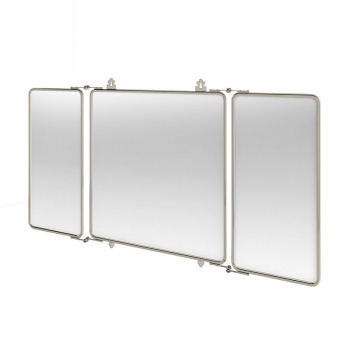 Arcade Bathrooms - Three Fold Bathroom Mirror With Nickel Plated Brass Frame