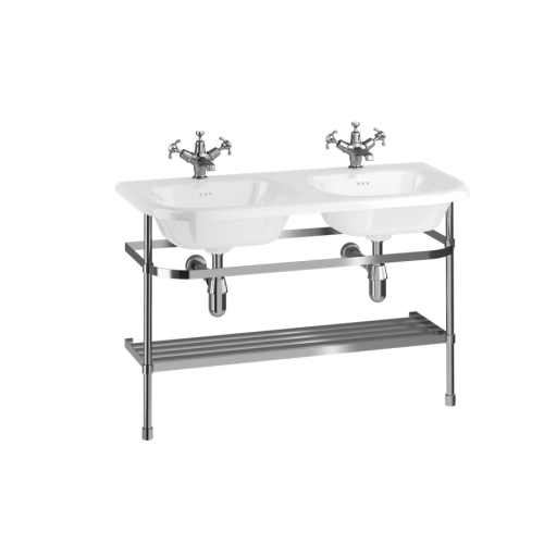 Double Roll Top Basin with Stainless Steel Stand