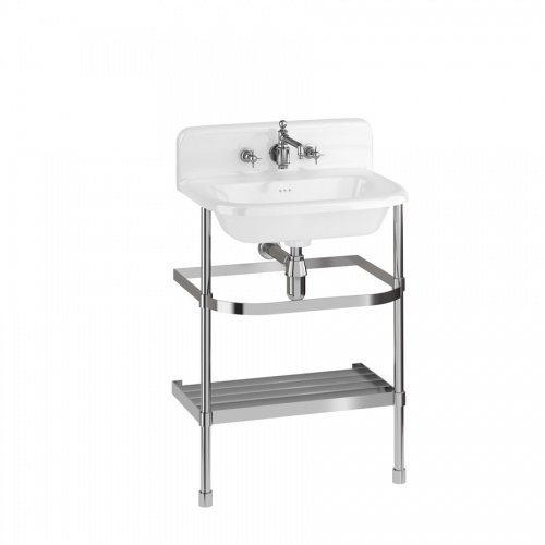 Medium Roll Top Basin with Up-stand and Stainless Steel Stand