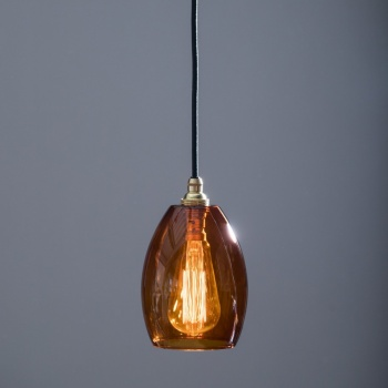 Bertie Small Amber Glass Pendant Light