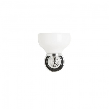 Burlington Bathrooms round light with chrome base and cup frosted glass shade