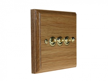 Wood 3 Gang 2Way 10Amp Toggle Switch in Solid Oak