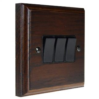 Wood 3 Gang 2Way 10Amp Rocker Switch in Dark Oak