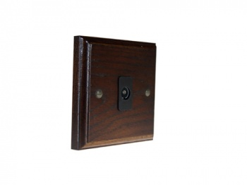 Classic 1Gang TV Co-Axial Non Isolated Socket in Dark Oak