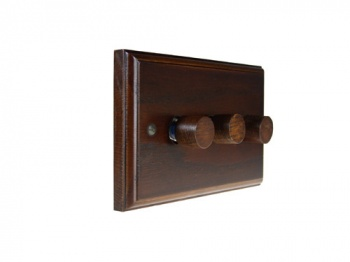 Wood 3 Gang 2Way Push on/Push off 3 x 250W/VA Dimmer Switch in Solid Dark Oak