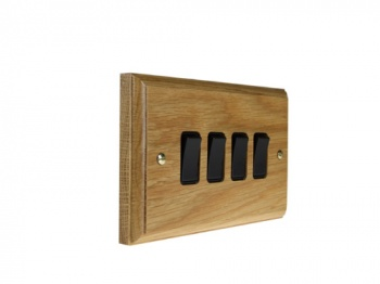 Wood 4 Gang 2Way 10Amp Rocker Switch in Solid Oak