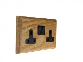 Wood 2 Gang 13Amp Switched Socket in Solid Oak