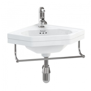 Corner 59.8cm cloakroom basin with towel rail