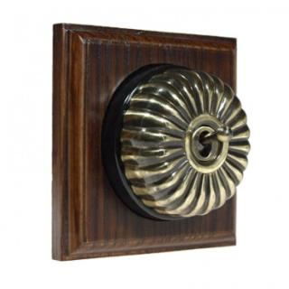 1 Gang 2 Way Asbury Dark Oak Wood, Fluted Dome Period Switch