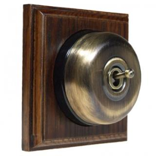 1 Gang Intermediate Dark Oak Wood, Smooth Dome Period Switch