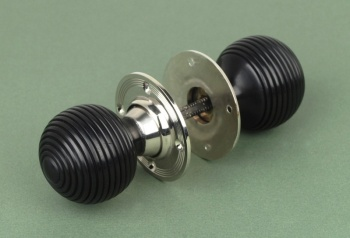 Solid Ebony Beehive Door Knobs Nickel Backplate