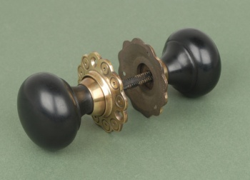 Solid Ebony Bun Door Knobs Brass Backplate