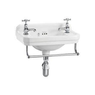 Edwardian 51cm cloakroom basin with towel rail