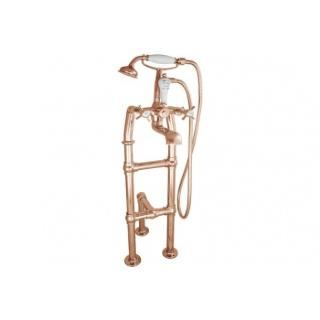 Free Standing Copper Bath Taps With Support - Small