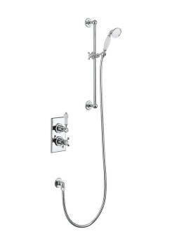 Trent Thermostatic Single Outlet Concealed Shower Valve With Rail, Hose and Handset