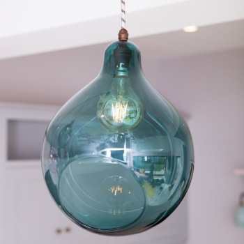 William Pendant Teal Glass Light