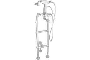 Free Standing Chrome Bath Taps With Support - Large