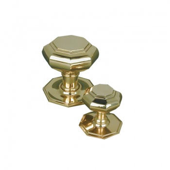 Large Octagonal Door Pull - Brass