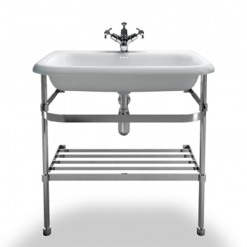 Large roll top basin with stainless steel stand